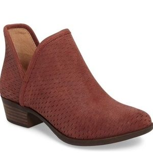 LUCKY Brand Bashina Red Perforated Leather Bootie